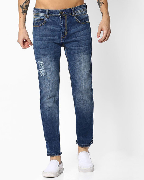 Distressed Slim Fit Denims By ADAMO LONDON ( Blue )