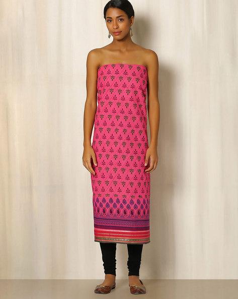 South Cotton Printed Kurta Fabric By Indie Picks ( Pink )