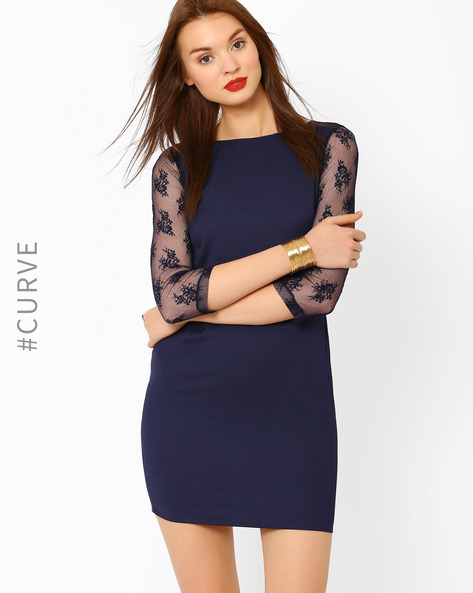 Bodycon Dress With Lace Sleeves By AJIO ( Navyblue )