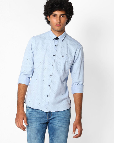 Printed Shirt With Patch Pocket By Killer ( Ltblue )