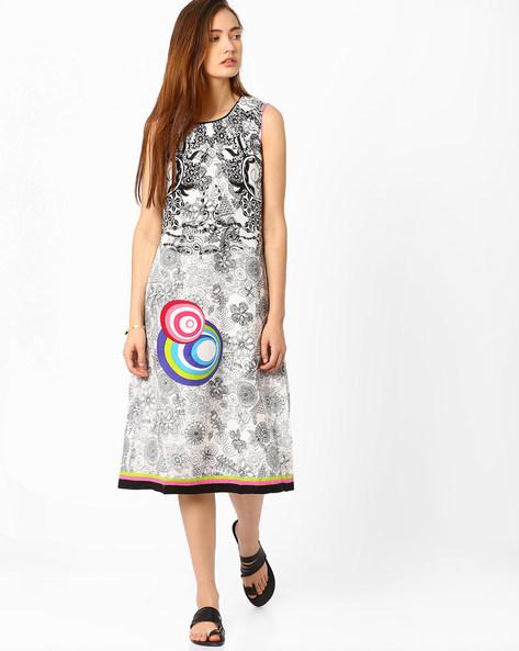 Printed Sleeveless Dress By Biba ( Black )