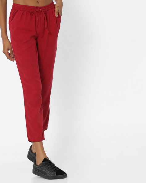 Cotton Track Pants With Drawstring Waist By Alibi ( Red )