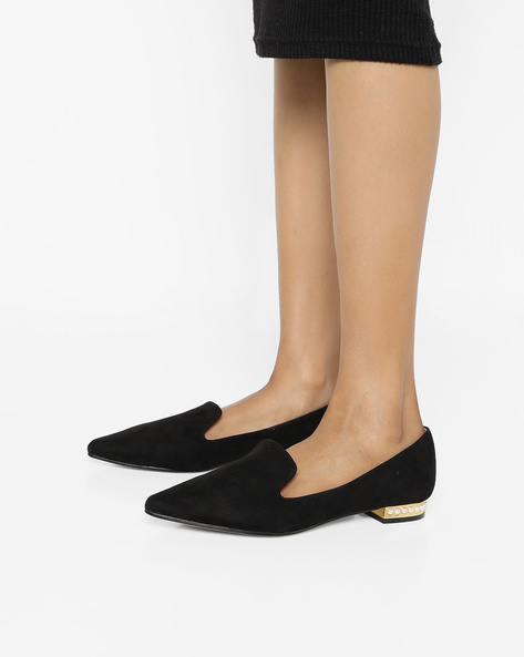 Pointed-Toe Loafers With Embellished Heel By Truffle Collection ( Black )
