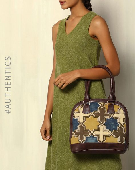 Handblock Print Ajrak Vegan Leather Shoulder Bag By A BIG INDIAN STORY ( Brown )