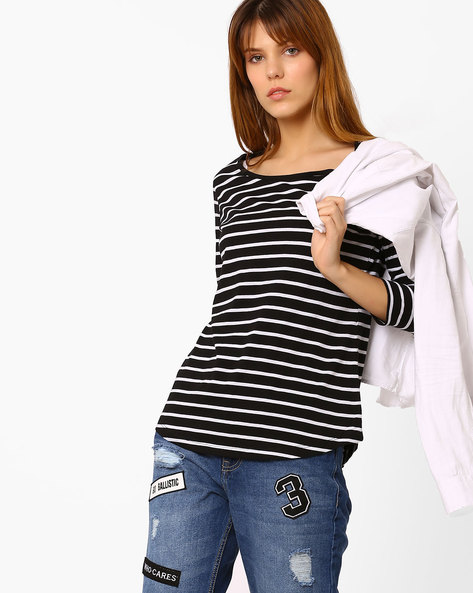 Striped Top With Curved Hem By Fame Forever By Lifestyle ( Black )