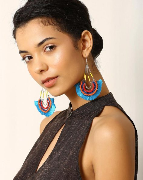 Beaded Metal Drop-Earrings With Tassels By Indie Picks ( Blue )