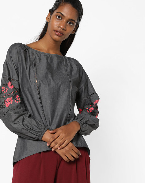 Peasant Top With Embroidery By AJIO ( Black )