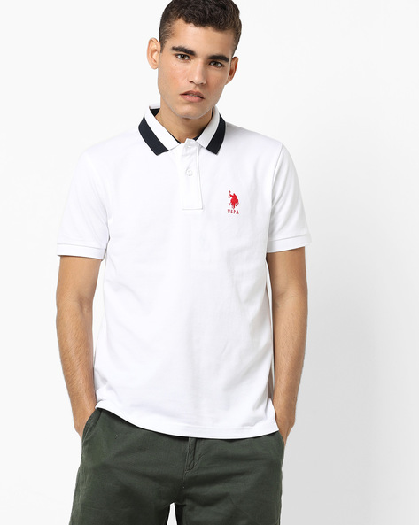 Polo T-shirt With Contrast Collar By US POLO ( White )