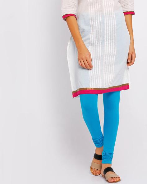 Stretch Churidar Leggings By Go Colors ( Lightblue )