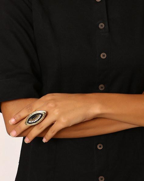 Beaded  Adjustable Ring By Indie Picks ( Multi )