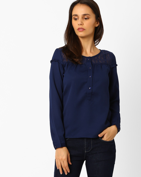 Top With Lace Yoke By Wills Lifestyle ( Blue )