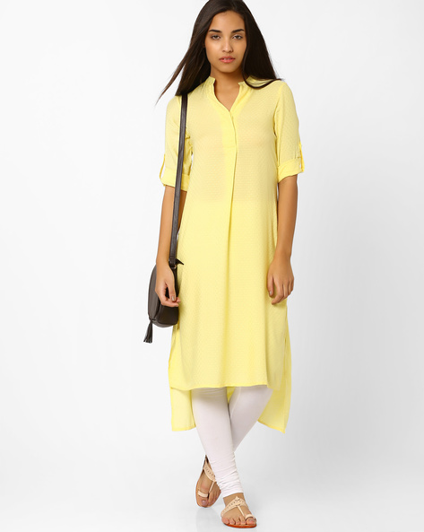 High-Low Tunic With Roll-up Tabs By And ( Yellow )