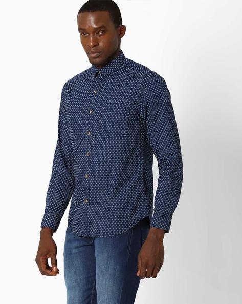 Printed Slim Fit Shirt By JOHN PLAYERS ( Blue ) - 440735713003