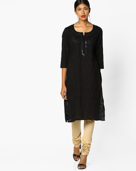 Self-Design Kurta With Mirror Work By Melange By Lifestyle ( Black )