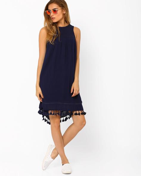 Sleeveless Shift Dress By Oxolloxo ( Blue )