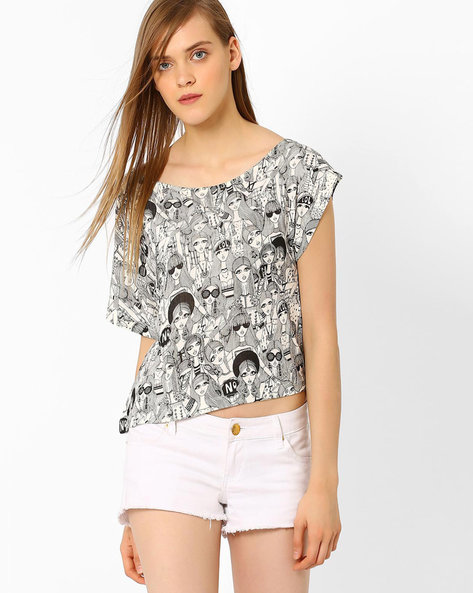 Printed Crop Top By AJIO ( Offwhite )