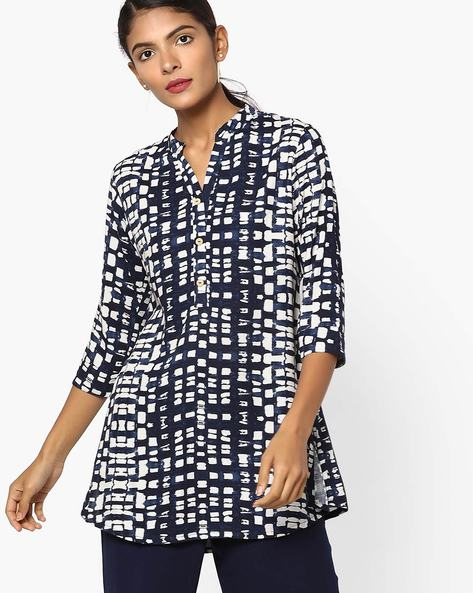 Printed Tunic With Button Placket By SOCH ( Navyblue )