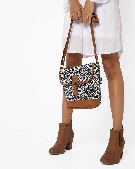 Jacquard Sling Bag By Kanvas Katha ( Tan ) - 460124231001
