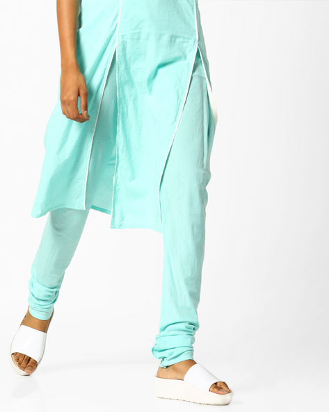 Churidar Pants With Drawstring Fastening By AJIO ( Mint )