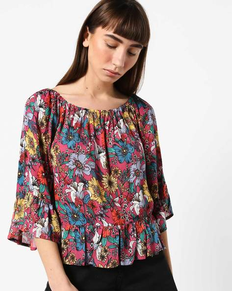 Floral Print Top With Gathers By Ginger By Lifestyle ( Pink )