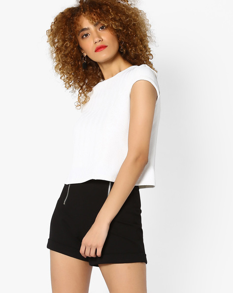 Cold-Shoulder Crop Top By AJIO ( White )