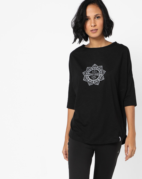 Panelled High-Low T-shirt With Drop Sleeves By 2Go ( Black )