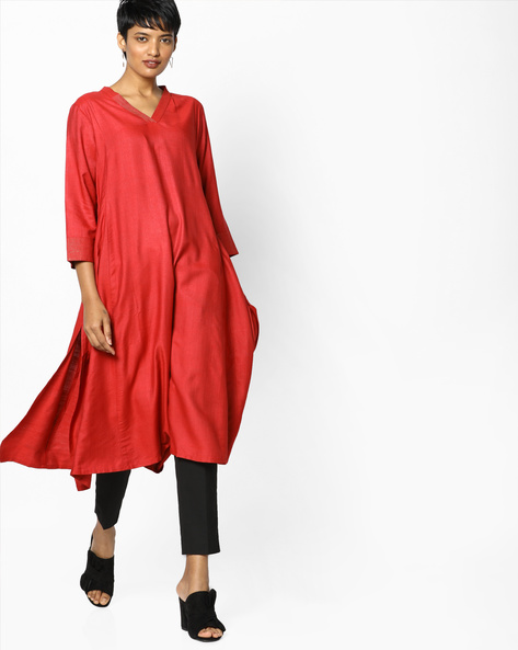 A-line Cotton Kurta With V-neck By PE IW Evening ( Red )