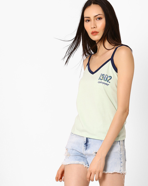 Graphic Print Strappy Top By AJIO ( Green )