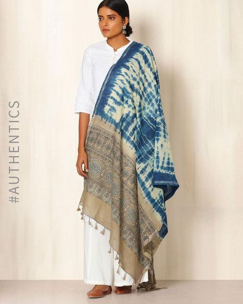 Ajrak Handblock Print Shibori Cotton Dupatta By Indie Picks ( Indigo ) - 460045121001