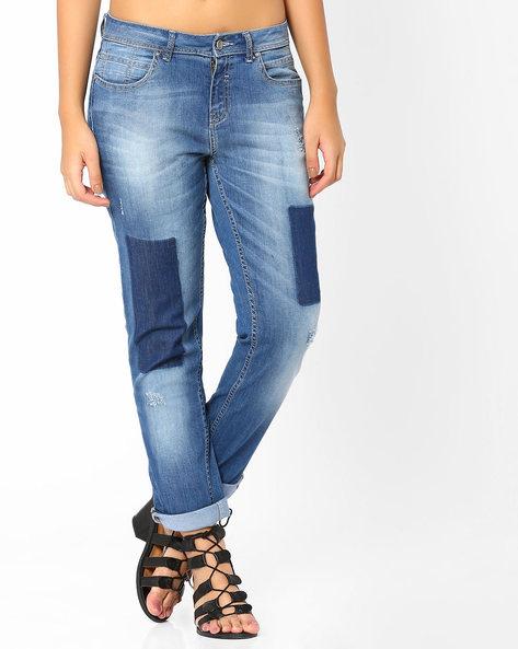 Boyfriend Jeans With Shadow Patch Detail By AJIO ( Lightblue )