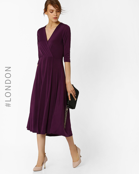Wrap Front Midi Dress By Closet London ( Purple )