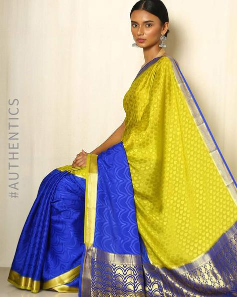 Pure Mysore Silk Crepe Half & Half Saree By Indie Picks ( Blue )