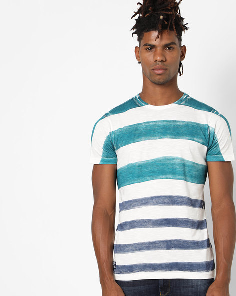 Striped Cotton T-Shirt By Pepe Jeans ( Teal )
