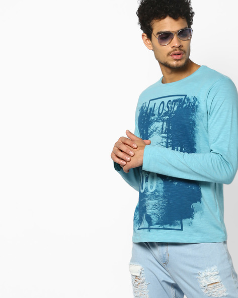 Crew-Neck Graphic Print T-shirt By AJIO ( Blue )