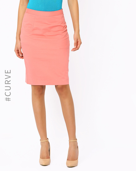 Pencil Skirt By AJIO ( Coral )