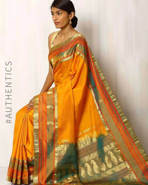 Handwoven Pure Silk Saree With Zari Border By Rudrakaashe-MSU ( Yellow )