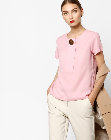 Top With Front Panel By AJIO ( Pink )