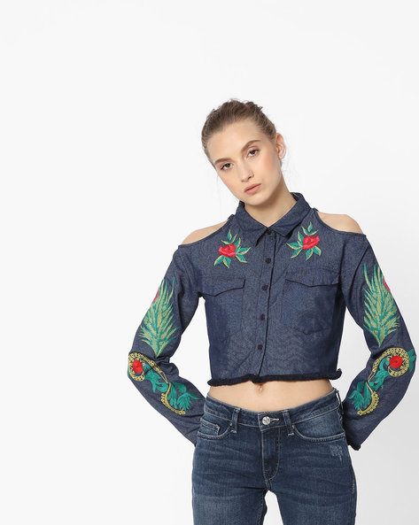 Embroidered Cropped Shirt With Cold Shoulders By Rena Love ( Blue )