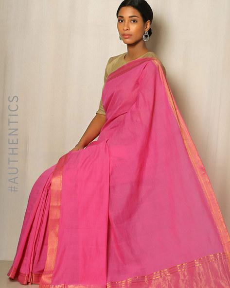 Handwoven Mangalgiri Cotton Saree With Zari Border By Indie Picks ( Violet ) - 460034840001