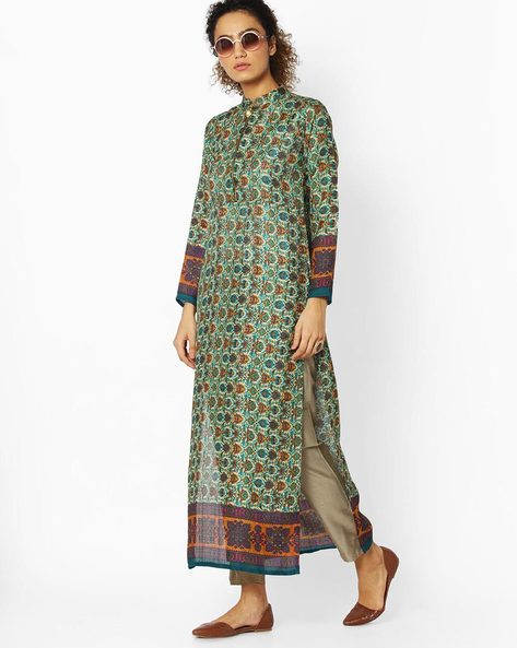 Printed High-Neck Straight Kurta By Libas ( Green )