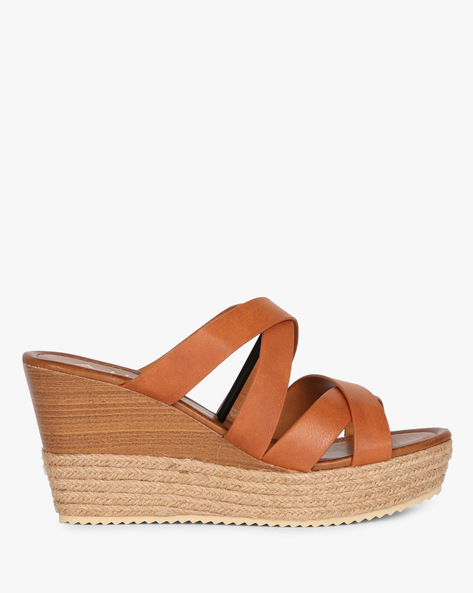 Criss-Cross Wedge Heeled Sandals By AJIO ( Tan )