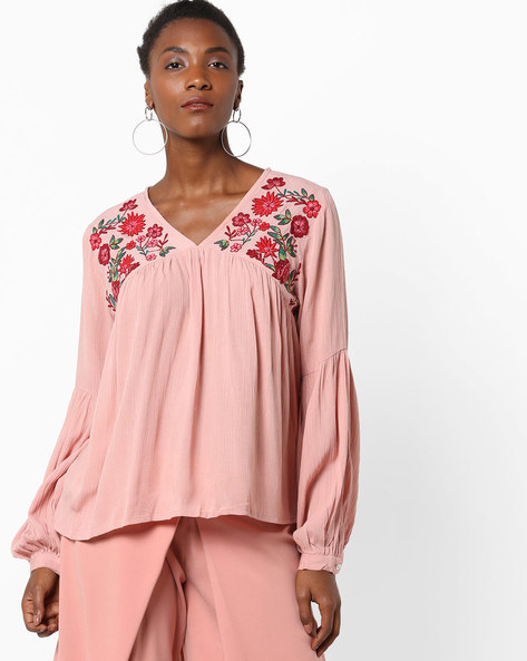 V-neck Top With Embroidered Yoke By Rena Love ( Pink )