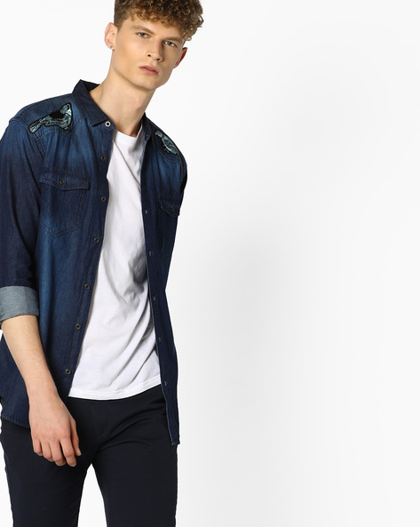 Slim Shirt With Bird Applique By ADAMO LONDON ( Blue )