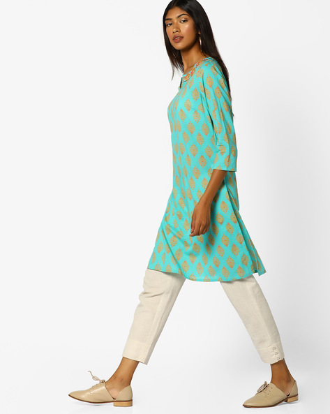Printed Straight Kurta With Embroidery By AJIO ( Teal )