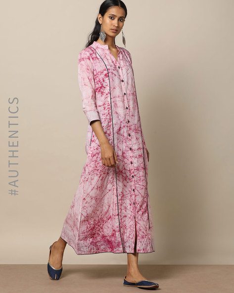 Hand Tie & Dye Cotton Embroidered Maxi Dress By Indie Picks ( Maroon )