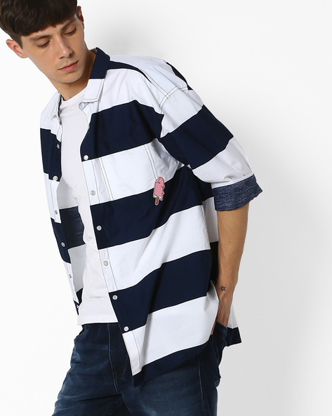 Striped Shirt With Patch Pocket By ADAMO LONDON ( Multi )