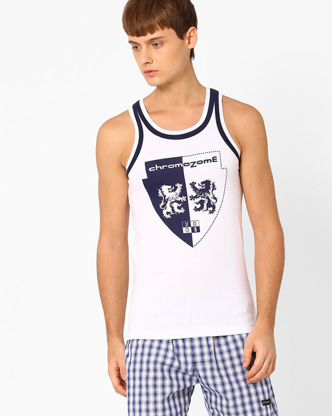 Printed Fashion Vest By CHROMOZOME ( White )