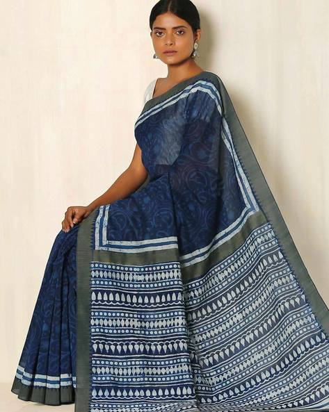 Dabu Handblock Print Indigo Chanderi Saree With Ghicha Border By Indie Picks ( Indigo )