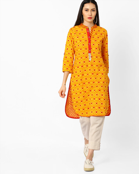 Printed High-Low Kurta By Indian Ink ( Yellow )