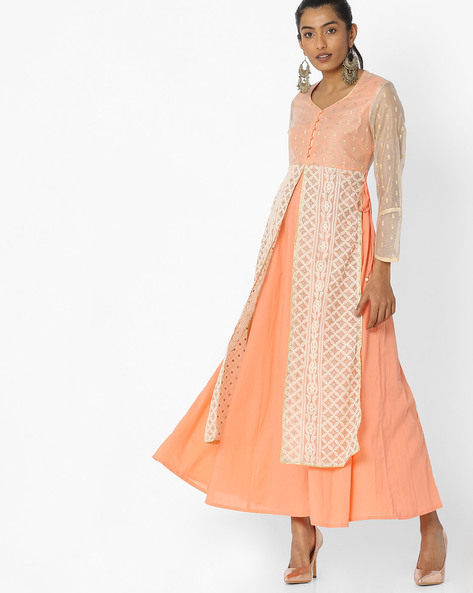 Layered Maxi Dress With Embroidery By Trishaa By Pantaloons ( Orange )